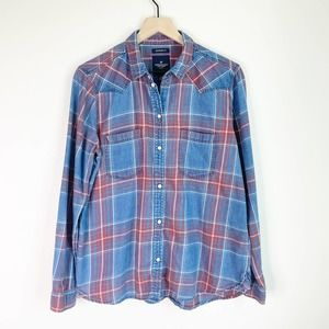 AMERICAN EAGLE Boyfriend Fit Blue Plaid Shirt